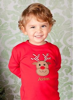 Boys Christmas Shirt or Onesie, Reindeer, Monogrammed