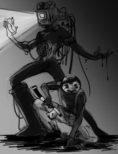 time to get outta this studio - ♡ Fanart, Bendy And The Ink Machine, The Creator, Insert Text, Fandoms, Videogames, Geek Stuff, Team Pictures, Memes