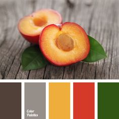 Juicy palette of late summer of green, yellow and red is associated with a light gray shade on the transition to dark gray. Colour Schemes, Color Patterns, Color Combinations, Colour Palettes, Color Palate, Design Seeds, World Of Color, Color Swatches, Color Stories