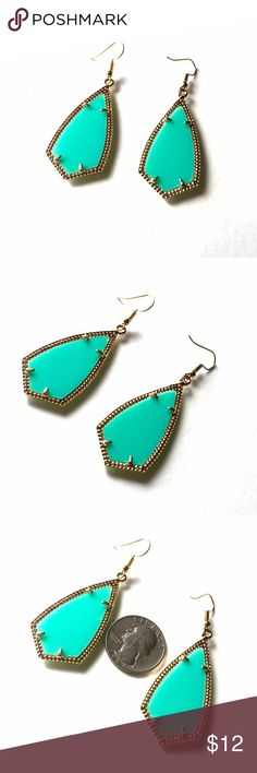 """Caribbean Sea Fashion Earrings On-trend beautiful Caribbean green earrings set in gold. Approx 2"""" not including hooks.  Pair with a white dress for a beachy vibe. NWOT City to Seaside Jewelry Earrings"""