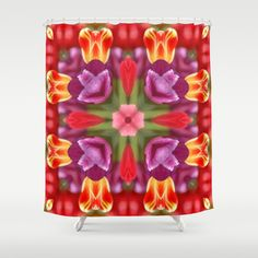 Colorful Tulips Kaleidoscope Shower Curtain by Celeste Sheffey of Khoncepts - $68.00 #homedecor #bathroom