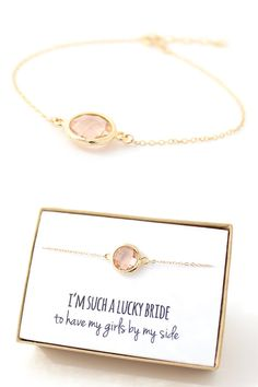 Bridesmaid Gift - Round Peach Champagne Bracelet by ForTheMaids, $18.00 (for a limited time)