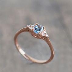 aquamarine engagement ring, aquamarine and diamond ring, cluster engagement ring, cluster ring rose gold, aquamarine cluster ring