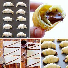 3-ingredient-Nutella-Croissants , YUMMY :)  Recipe--> http://wonderfuldiy.com/wonderful-diy-quick-nutella-stuffed-croissants/