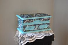 Jewelry Box Shabby Chic Tiffany Blue Olive by TheVintageArtistry, $40.00