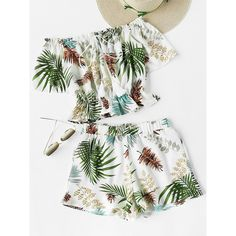 SheIn(sheinside) Tropical Print Tassel Tie Bardot Top With Shorts ($16) ❤ liked on Polyvore featuring tops, ruffle top, white boho top, white ruffle top, sexy white tops and short sleeve off the shoulder top