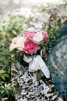 Romantic Miami Wedding, Villa Woodbine, Lush Pink Bouquet with Garden Roses | Brides.com
