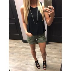 """Need the perfect """"night out"""" outfit? We've got you covered! Pair these olive green shorts with our black cropped tee that comes in multiple colors. Dress it up with a simple wrap necklace and these DALTON black heels! #apricotlaneaugusta #shopALB #augustamall"""