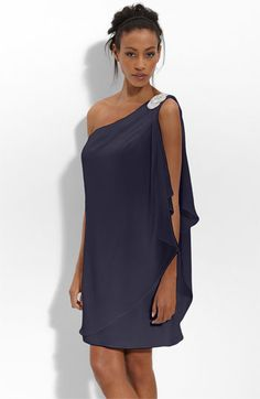 navy blue one shoulder cocktail dress « Bella Forte Glass Studio