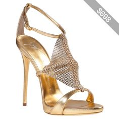GIUSEPPE ZANOTTI Crystal Mesh Evening Sandal Gold Leather