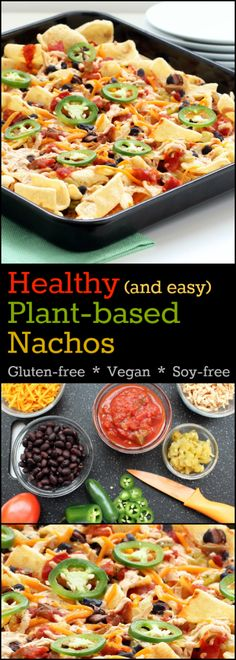 Recipe: Healthy Plant-Based Nachos (Gluten-Free, Vegan, Soy-free) The ultimate, easy recipe with an intense blend of flavors that will satisfy your snack food craving! Get the recipe at http://www.nutritionicity.com/recipes/recipe-healthy-plant-based-nachos-gluten-free-vegan-soy-free/ Healthy Vegan Snacks, Quick Snacks, Food Cravings, Going Vegan, Nachos, Easy Meals, Snack Recipes, Simple, Snack Mix Recipes