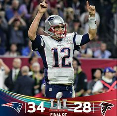 The New England Patriots scored 31 unanswered points to defeat the Atlanta Falcons in overtime, at NRG Stadium in Houston on Sunday, making Tom Brady the first quarterback to win five Super Bowl games. Tom Brady, Patriots Football, Football Helmets, Super Bowl, New England Patriots Merchandise, Atlanta, Ukelele, Guitar, Superbowl Champions