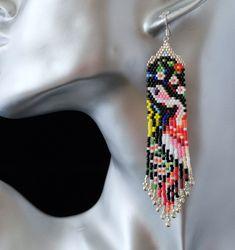 nouveauté!!superbe boucles d'oreilles unique tissés tissage peyote en perles japonaise Miyuki : Boucles d'oreille par la-bijouterie-de-dalila