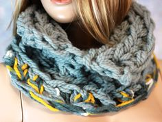 Hand Crochet Outlander Inspired Light Gray Cowl Scarf Knitted Collar Ski Scarf READY TO SHIP