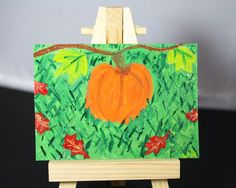 Original Acrylic ACEO Painting of A Pumpkin the the Patch by JulibeeKitsch on Etsy for $12