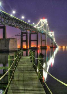 Newport Bridge and pier in Rhode Island.