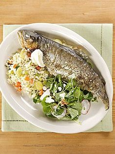 Shellfish Recipes, Seafood Recipes, Dinner Recipes, Trout Recipes, Mint Oil, Watercress Salad, Butter Beans, Rainbow Trout, Fish Dishes