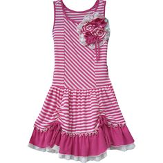 Keep the spring spirit up with this cute dress by Isobella & Chloe! It features a floral embellishment, trendy bubble gum pink and white striped pattern, ruffled edge and drawstring detail. It is sleeveless and has a drop waist. Made with quality material