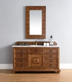 60 inch Single Sink Bathroom Vanity Cinnamon Finish Optional Countertop