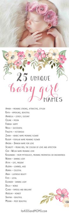 25 Unique Baby Girl Names and Meanings List forkidsandmoms.com