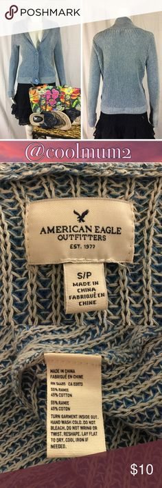 """🆕Listing AEO Sweater AEO 3 button cardigan.                                 55% ramie.                                                      45% cotton.                                                    Length 21"""" ( from neck seam to hem).          Bust 17"""" ( material stretches). American Eagle Outfitters Sweaters Cardigans"""