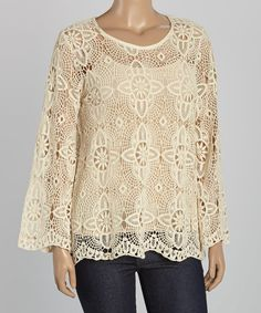 Look at this Simply Irresistible Natural Allover Crochet Scoop Neck Top - Plus on #zulily today!