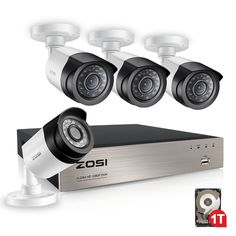 ZOSI 4CH Full True 1080P HD TVI DVR Security Camera System with 4 Weatherproof 3.6mm Lens 65FT 20m Night Vision 1080P CCTV Cameras 1TB Hard Disk Support Smartphone Scan QR Code Quick Remote Access