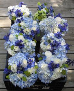 Blue wedding bouquets - hydrangea, delphinium and roses