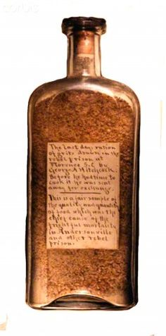 United States Civil War,Bottle with Union soldier's prison ration of grits.