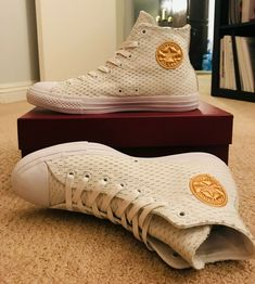 823f7e3c9d6a Converse All Star Leather High White out Pack White gold Sz US M for sale  online
