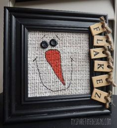 Porta-retrato con muñeco de nieve. My Spare Time Designs, Original Folk Art