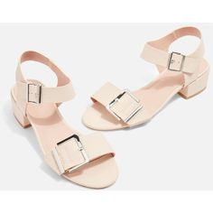 Topshop Dare Two Part Low Sandals ($41) ❤ liked on Polyvore featuring shoes, sandals, nude, nude mid heel shoes, nude heel sandals, polyurethane shoes, nude shoes and topshop shoes