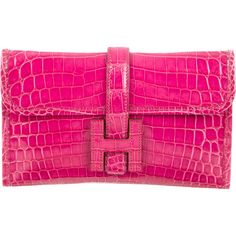 Pre-owned Herm?s Mini Crocodile Jige Clutch ($9,000) ❤ liked on Polyvore featuring bags, handbags, clutches, pink, pink handbags, handbags purses, hermes handbags, croco handbag and croc handbags