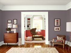 Interior Living Room With Brown Sofa And Wooden Floor Also Neutral Wall Paint Color Cool Neutral