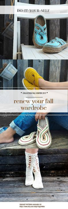 New fall - winter crochet collection.  New designs for women slipper-boots that uses also BULKY yarn, so they are  quick projects and, in the same time, it's a wonderful warm accessory for the fall and winter season.   Crochet patterns available at: https://www.etsy.com/shop/magic4kids