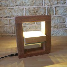 Direktionale Tisch Lampe Spiegel leichte drehende Spiegel aussergewöhnliches Design, Massivholz Holz Light Desk Akzent Lampe Designer Square führte