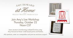 From her workshop in Memphis, TN, Amy Howarddemonstratesthe looks you can create using herchalk-based paints and finishesnow available at participating Ace Hardware stores.  Learn thesesecrets for rescuing, restoring and redecorating used furniture and home decor.  See how you can use Amy Howard at Home chalk-based paint, on almost anything. Learn to create artistic effects and see demonstrations ofgorgeous techniquesusing Lacquer, Cracked Patina, Antique Waxes and Dust of Ages…