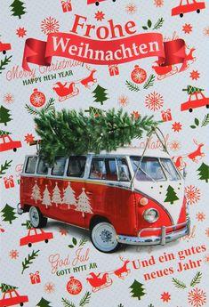 Ein Hauch von Nostalgie... Christmas Ornaments, Holiday Decor, Vw, Banner, Xmas, Company Logo, Santa Clause, Xmas Cards, Crafting