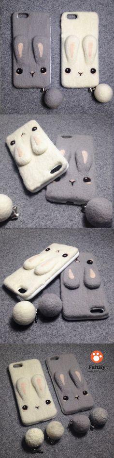 Handmade needle felted felting cute animal project bunny iphone case