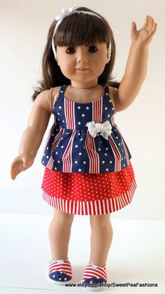 American Girl Stars and Stripes Outfit with by SweetPeaFashions, $20.00
