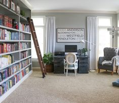 Welcome! When you walk into our home, there's a small entryway with the office on one side and the dining room on the other. We recently added this large wall of bookshelves to our home office. I share how I painted these bookshelves and all the details on the rolling library ladder. The large piece above my …