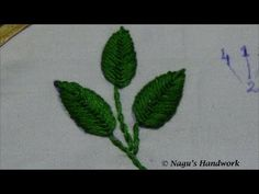 Fly Stitch Leaf (Closed)-Hand Embroidery Tutorial By Nagu's Handwork Hand Embroidery Videos, Hand Embroidery Tutorial, Embroidery Works, Learn Embroidery, Hand Embroidery Stitches, Hand Embroidery Designs, Embroidery Techniques, Cross Stitch Embroidery, Embroidery Patterns