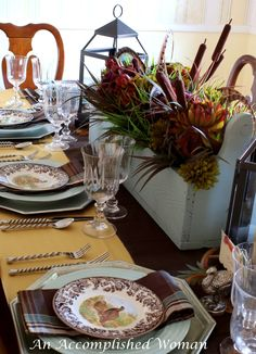 Thanksgiving Table - Blue and Brown Together