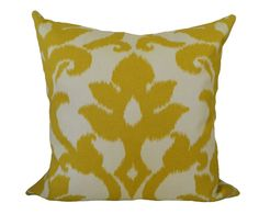 18''x18'' Pillow Cover Ikat Damask in Mustard