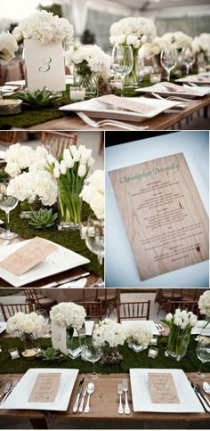 This green, grassy looking table runner is really pretty...totally brings out her flower centerpieces.