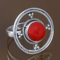 NEW STYLE SOLID 925 STERLING SILVER Coral AMAZING RING 6.16g DJR8540 S-7 #Handmade #Ring