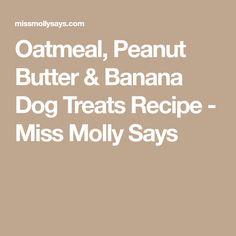 Oatmeal, Peanut Butter & Banana Dog Treats Recipe - Miss Molly Says