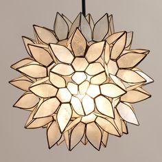 Small Capiz Lotus Hanging Pendant Lantern | World Market