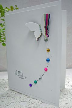 CAS layered butterfly card - seven butterfly layers - bling trail - bjl