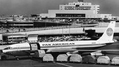 Pan Am Boeing 707 Clipper Cargo jet at SFO 1963